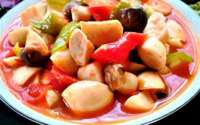 Fried Pleurotus eryngii with tomatoes king oyster mushroom recipe