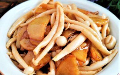 Braised Potato chips and Seafood Mushroom
