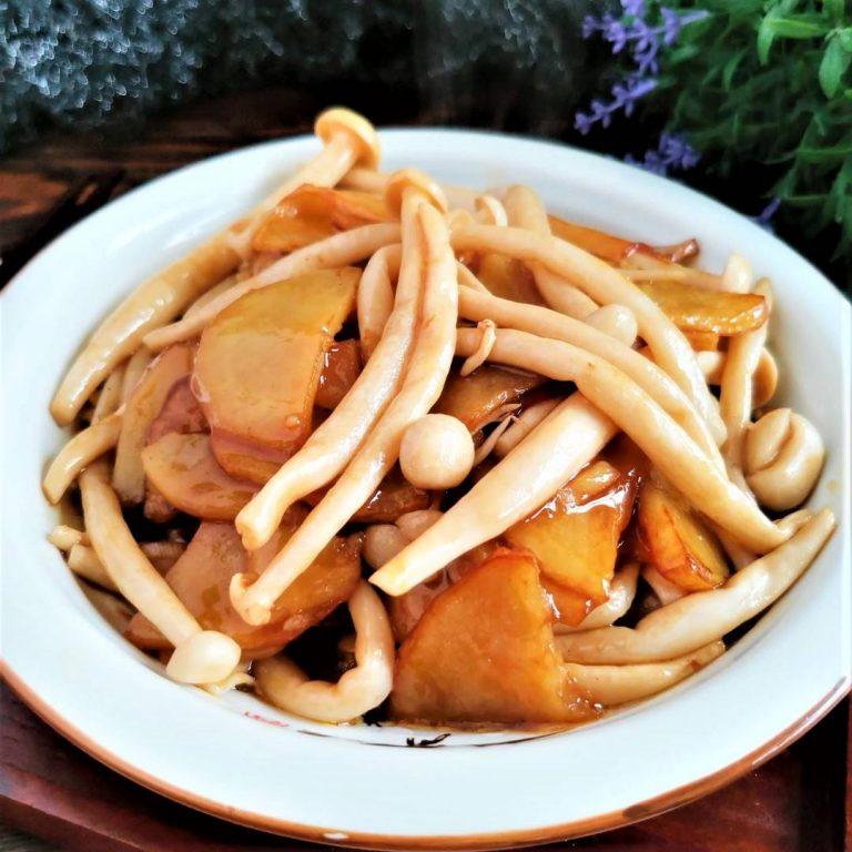 Braised Potatoes and Seafood Mushroom