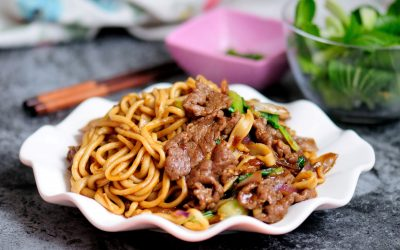 Cumin beef stir fry with hand-pulled noodle recipe chinese fried Lamian noodles