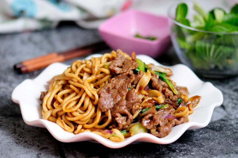 Hand Pulled Noodles with Beef Recipe | Chinese Fried Lamian Noodles