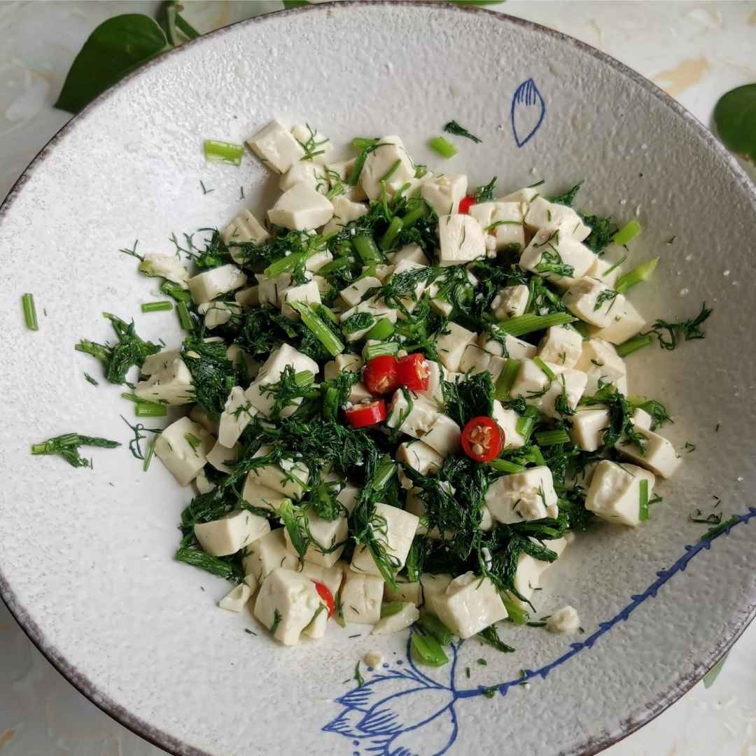 Easy tofu salad with fennel fronds recipe 06