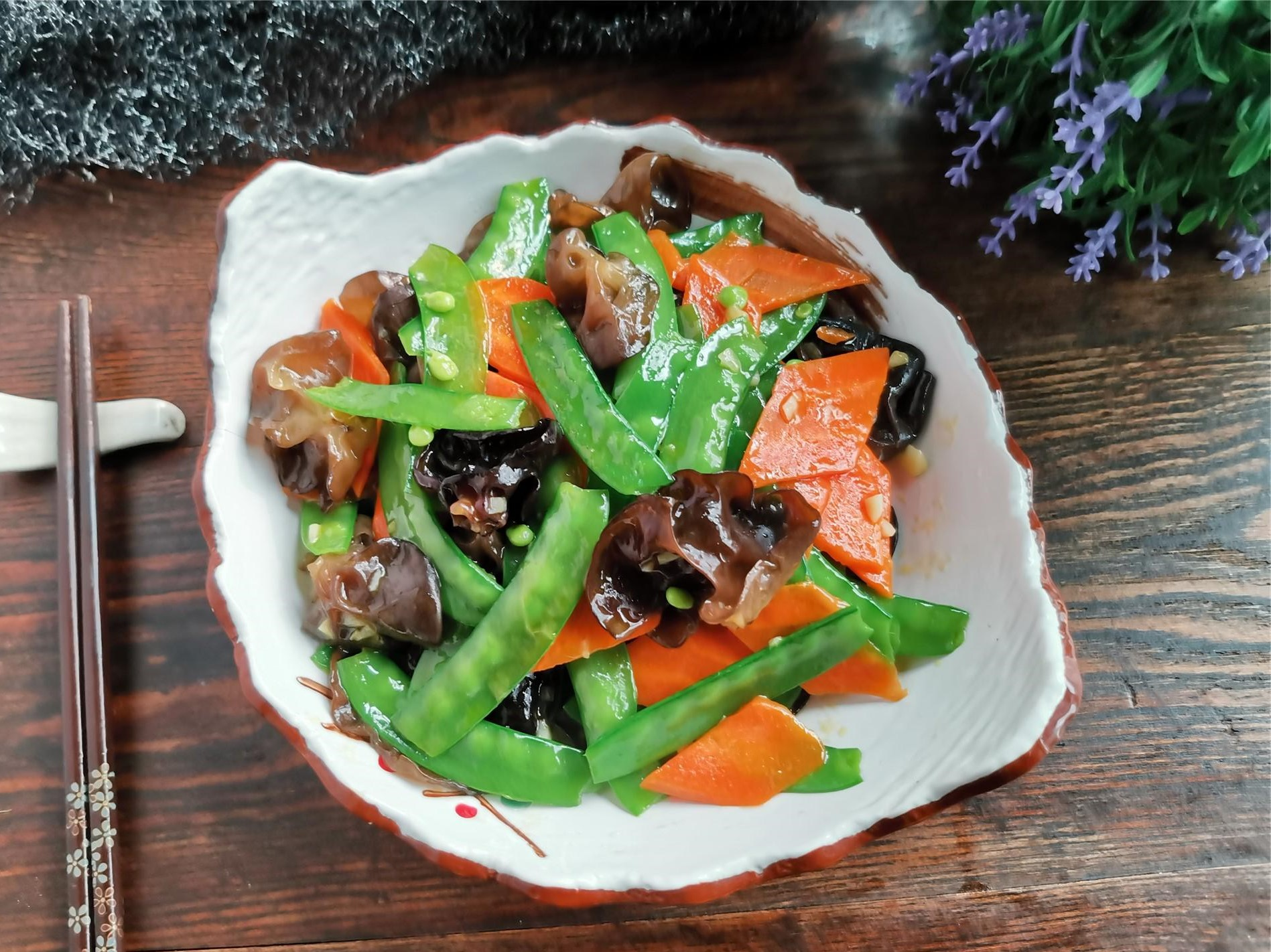 Fried Pea Pods With Black Fungus And Carrots Recipe 2021