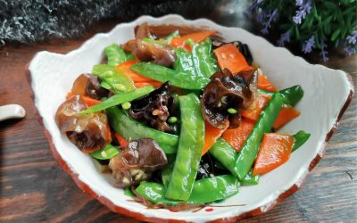 Fried Pea Pods With Black Fungus And Carrots Recipe