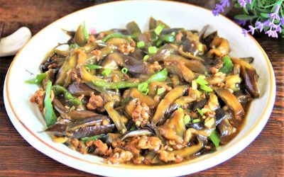 Homemade eggplant with minced meat china food recipe