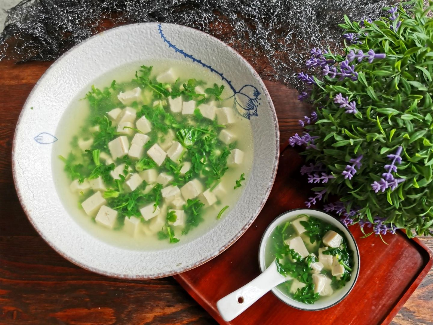 Shepherd's purse and tofu soup healthy and light Chinese soup recipe 2020