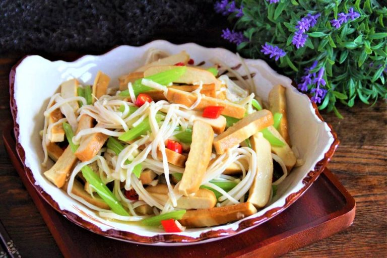 Smoked Bean Curd, Celery and Enoki Mushroom Salad