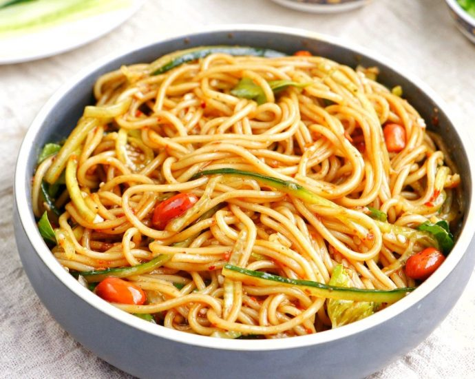 Spicy and sour Asian noodle salad China cold noodle