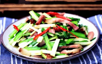 Stir-fried Chinese bacon and leek china food recipe