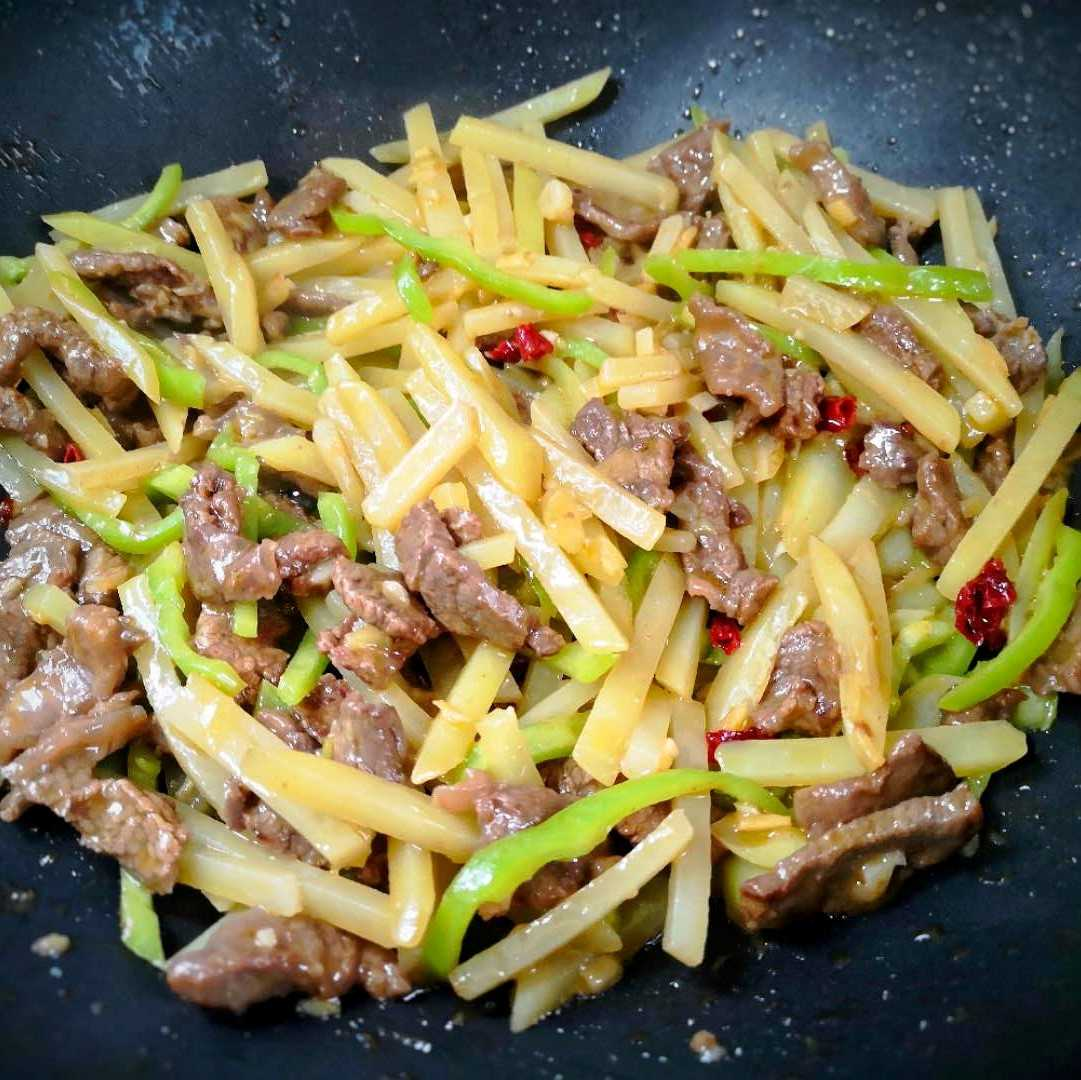 Stir-fried beef with Potatoes and green peppers recipe 09