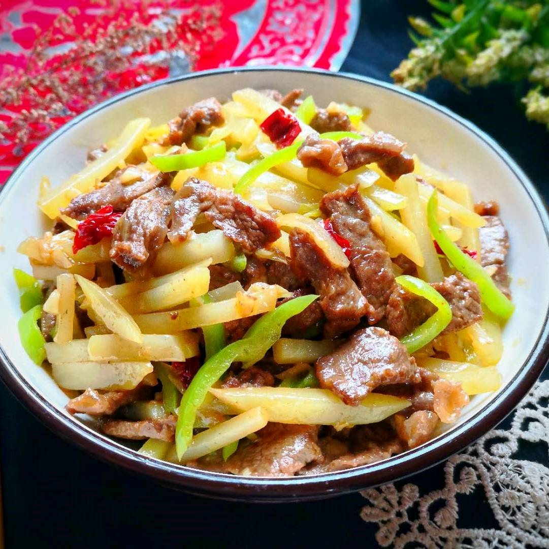 Stir-fried beef with Potatoes and green peppers recipe 10