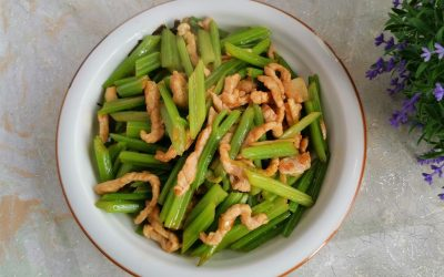 Stir-fried celery with shredded pork China Food