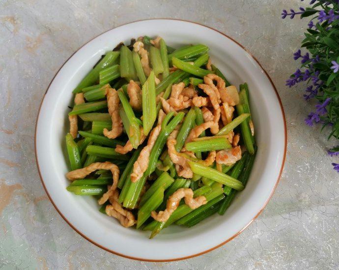 Stir-fried celery with shredded pork China Food