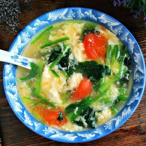 Tomato, spinach egg drop soup recipe 2020