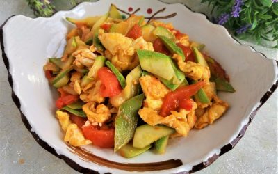 Zucchini summer squash and tomato stir-fried with egg light vegetarian food recipe