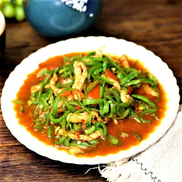 shredded pork with green pepper Chinese food recipe 2021