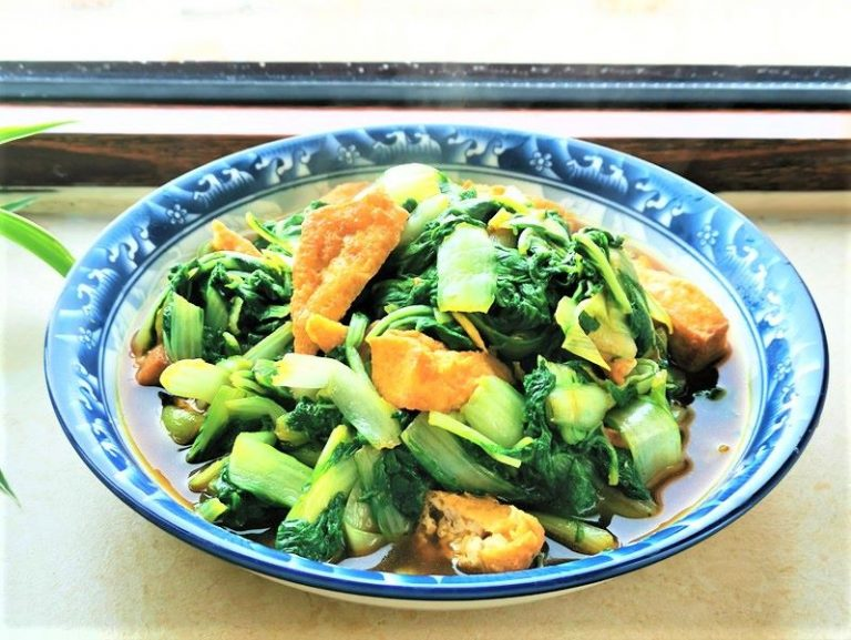 Deep Fried Tofu With Green Vegetables Recipe