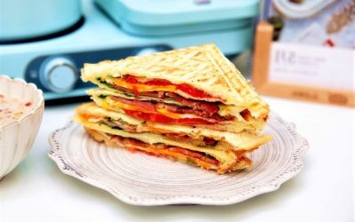 Healthy bacon toast sandwich breakfast