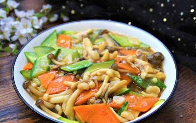 Mushroom stir-fry with cucumber and carrot the best vegan recipe