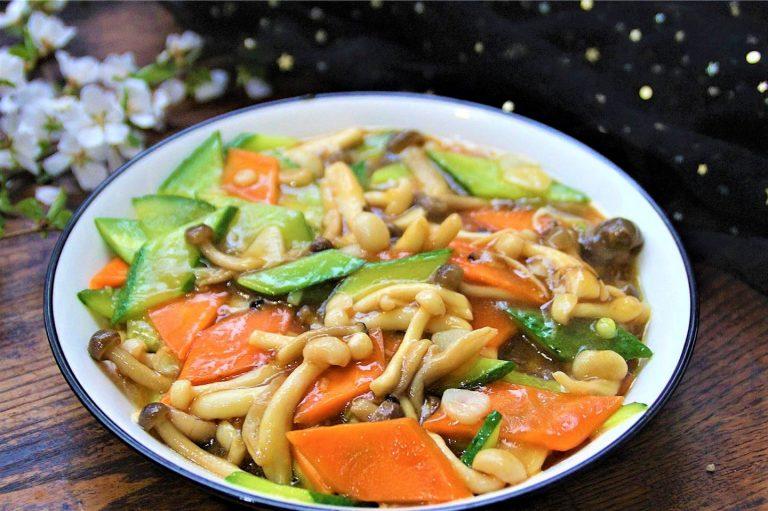 Mushroom Stir-Fry with Cucumber and Carrot | Best Vegan Recipe
