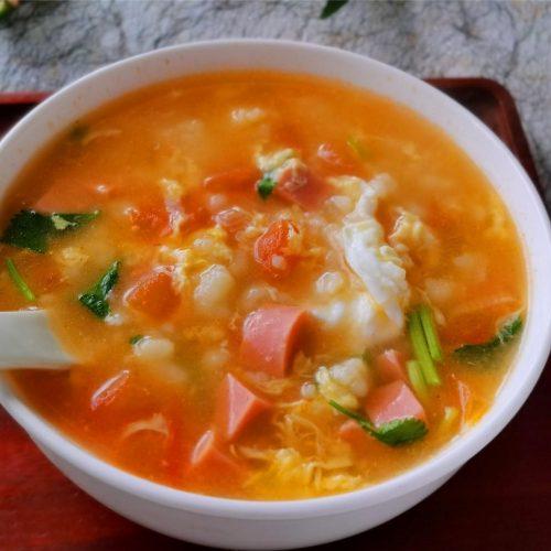 Tomato And Egg Flour Pimple Soup