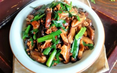 Chinese chives with minced meat and mushrooms recipe China food Chinese homemade dish recipe