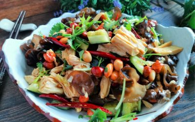 Mixed cucumber with fungus and bean curd salad recipe