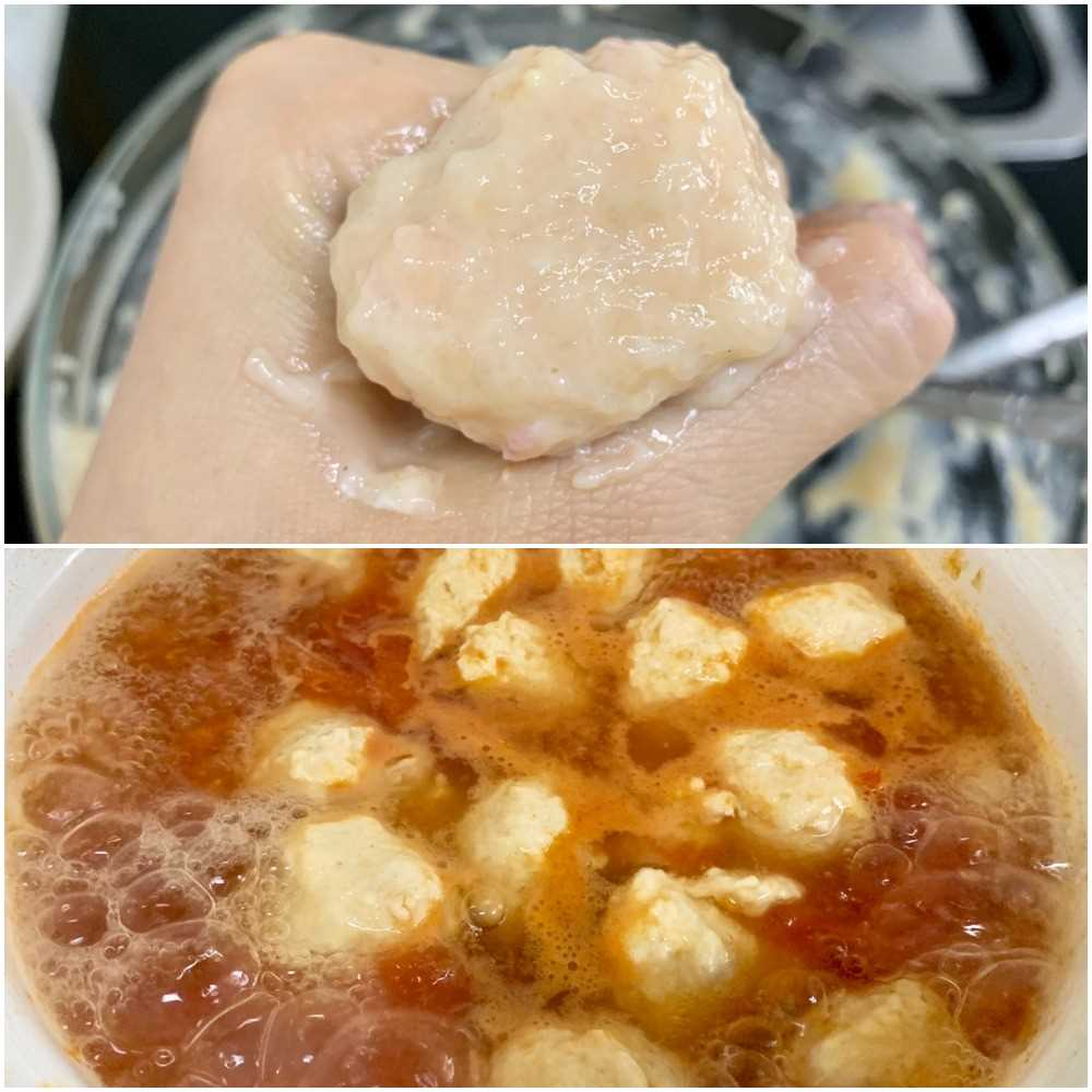 Put the meat filling in the palm of your hand, squeeze out the shape of the ball, and scrape it with a spoon. Put in the soup.