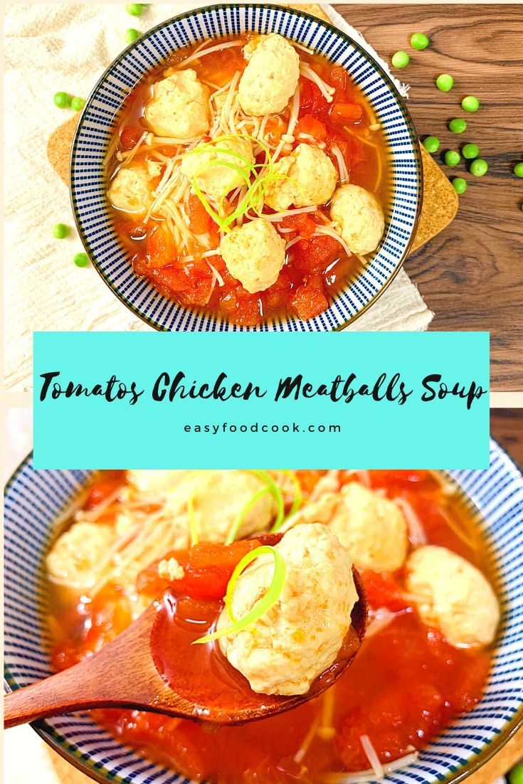 Oil free low calorie tomato and chicken meatball soup