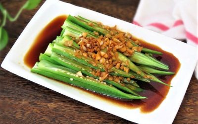 Okra with Garlic and Oyster Sauce salad china food Chinese cold dish