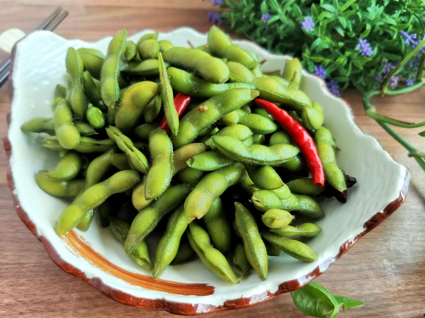 Spiced green soybeans Edamame soy beans Recipe Simple chinese summer snack
