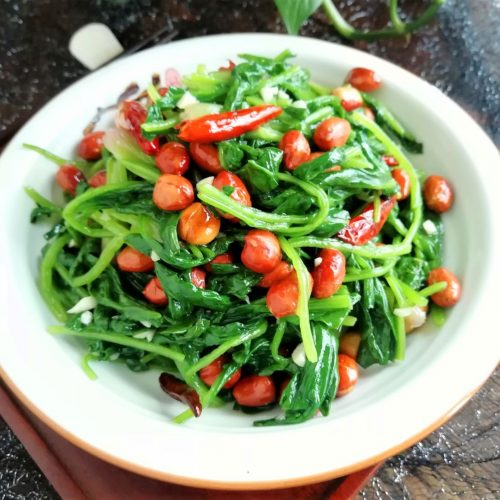 Spinach and peanut salad China food Chinese homemade cold dish recipe