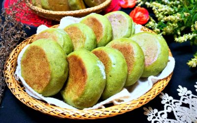 Spinach pancake with red bean filling Healthy breakfast