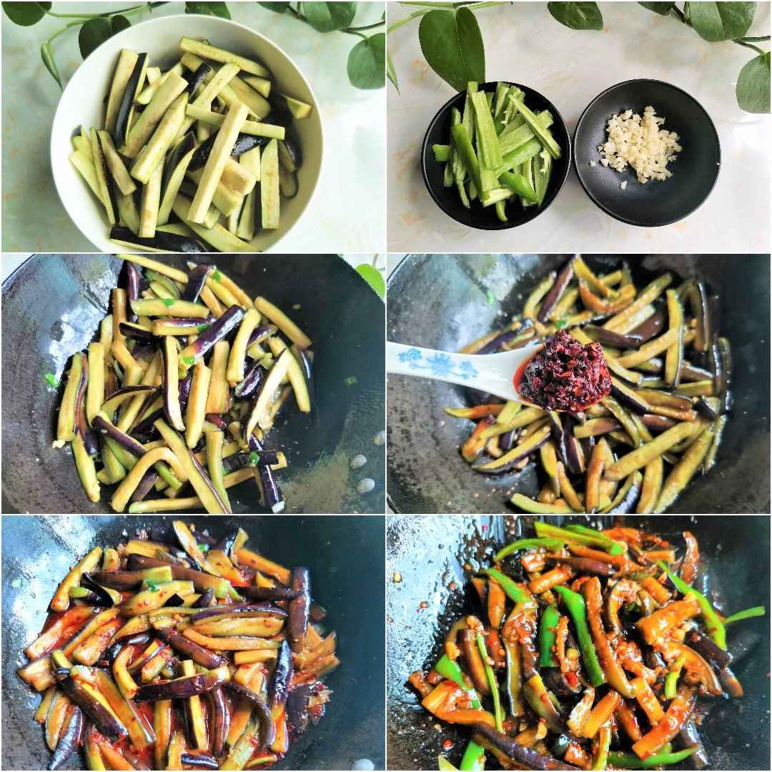 Chinese Eggplants with cubanelle peppers in chili garlic sauce steps