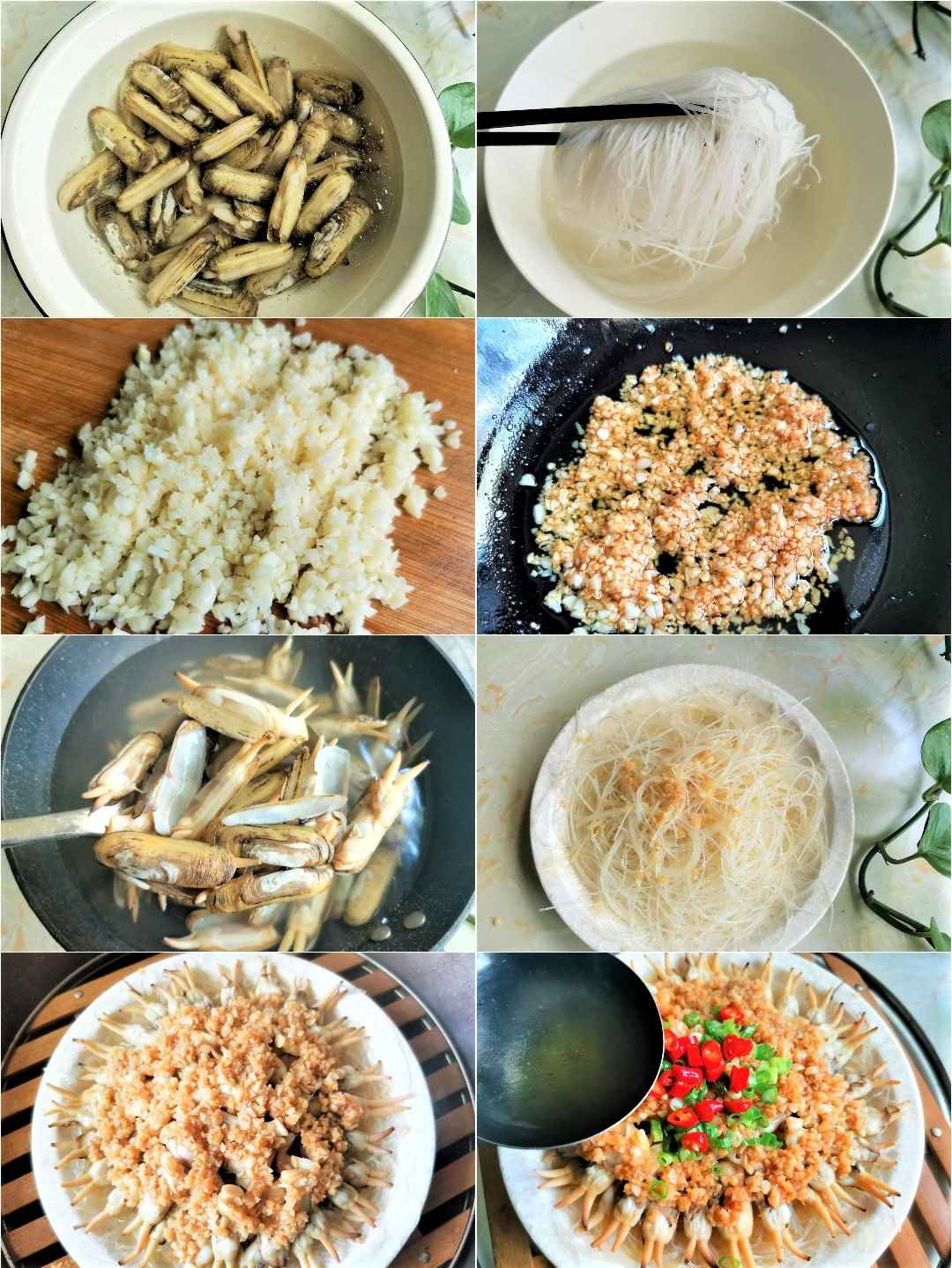 Steamed razor clams with garlic sauce seafood recipes steps