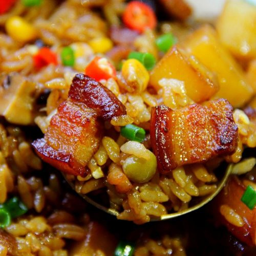Stew rice with pork and potatoes recipe