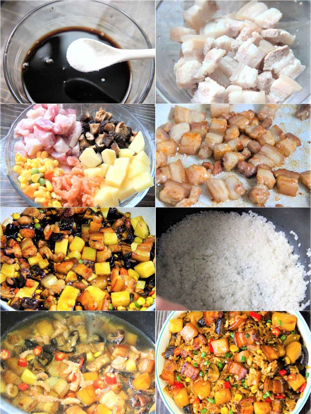 Stew rice with pork and potatoes recipe with pictures step by step